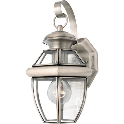Quoizel Lighting Outdoor Wall Light with Clear Glass in Pewter Finish NY8315P