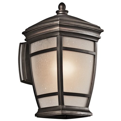 Kichler Lighting Kichler Outdoor Wall Light with White Glass in Rubbed Bronze Finish 49271RZ