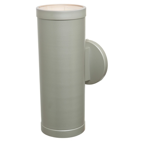 Access Lighting Outdoor Wall Light with Cylinder Shade in Satin Nickel Finish 20364-SAT/CLR