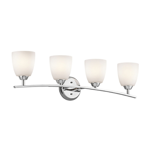 Kichler Lighting Kichler Bathroom Light with White Glass in Chrome Finish 45361CH