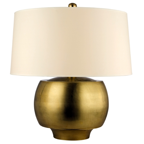 Hudson Valley Lighting Modern Table Lamp with White Shade in Aged Brass Finish L162-AGB-WS