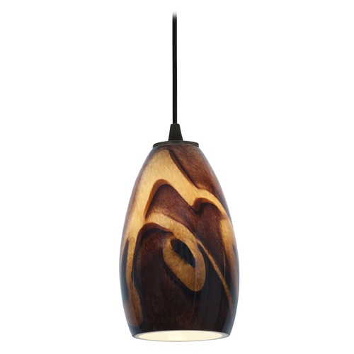 Access Lighting Modern Mini-Pendant Light with Art Glass 28012-1C-ORB/ICA