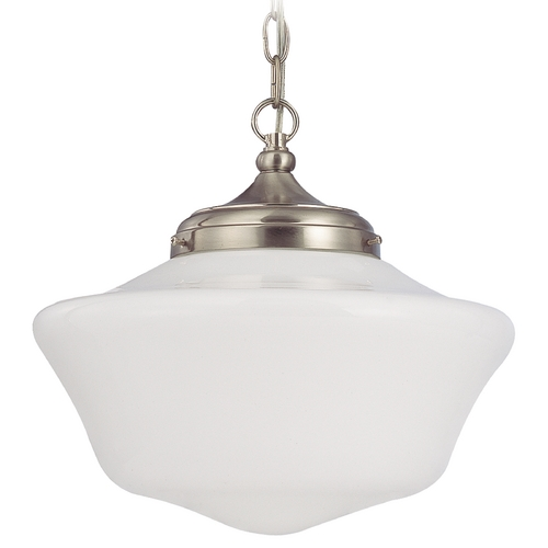 Design Classics Lighting 14-Inch Schoolhouse Pendant Light in Satin Nickel with Chain FA6-09 / GA14 / A-09