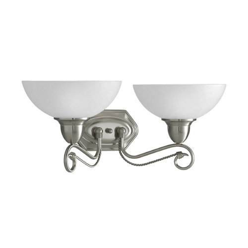 Progress Lighting Progress Bathroom Light with White Glass in Brushed Nickel Finish P3270-09