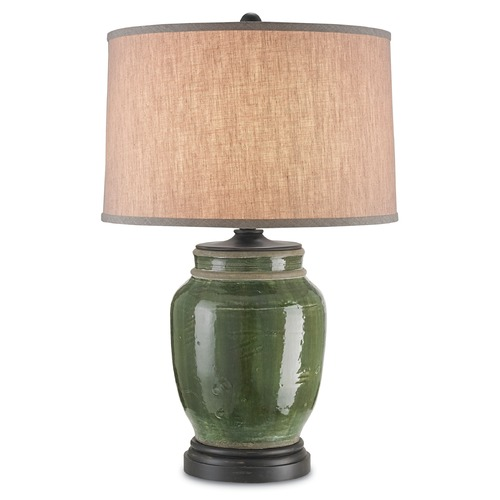 Currey and Company Lighting Currey and Company Lighting Carver Green / French Black Table Lamp with Drum Shade 6827