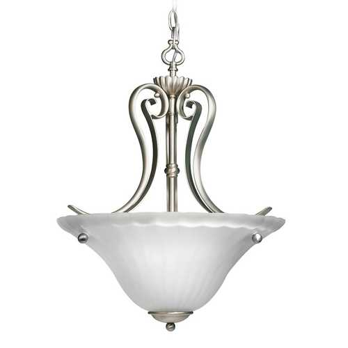 Kichler Lighting Kichler Pendant Light with White Glass in Brushed Nickel Finish 3325NI