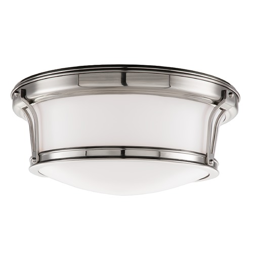 Hudson Valley Lighting Flushmount Light with White Glass in Satin Nickel Finish 6513-SN