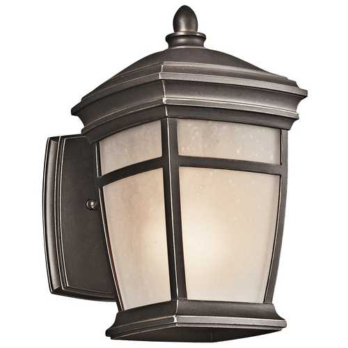 Kichler Lighting Kichler Outdoor Wall Light with White Glass in Rubbed Bronze Finish 49270RZ