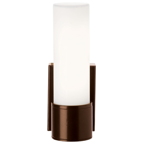 Access Lighting Outdoor Wall Light with White Glass in Bronze Finish 20367MG-BRZ/OPL
