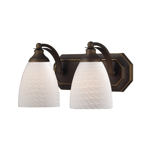 Elk Lighting Bathroom Light with Art Glass in Aged Bronze Finish 570-2B-WS