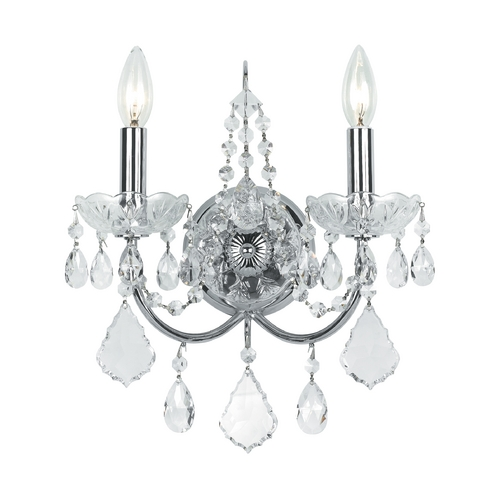 Crystorama Lighting Crystal Sconce Wall Light in Polished Chrome Finish 3222-CH-CL-SAQ