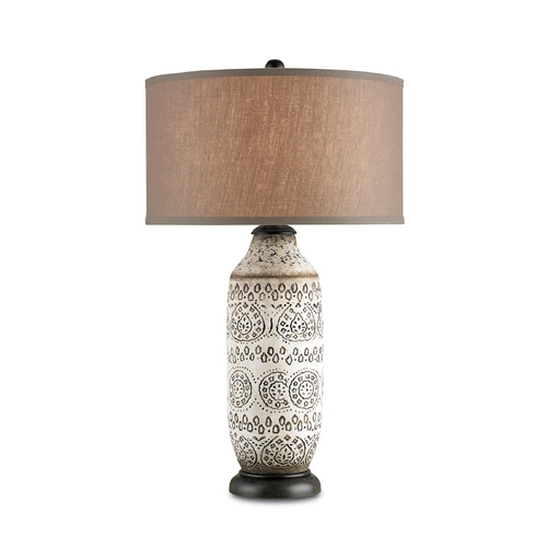 Currey and Company Lighting Table Lamp with Brown Shade in Antique Brown Finish 6350