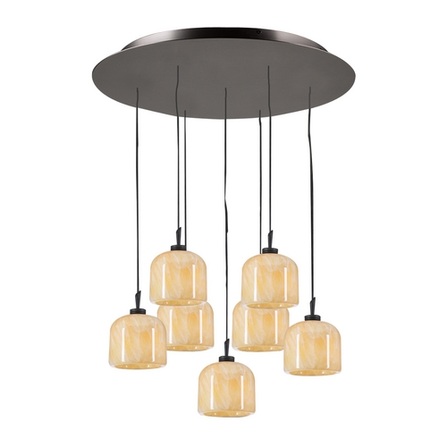 PLC Lighting Modern Multi-Light Pendant Light with Beige / Cream Glass and 7-Lights 2827 ORB