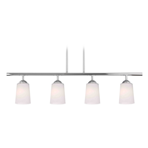 Design Classics Lighting Modern Island Light with White Glass in Chrome Finish 718-26 GL1027