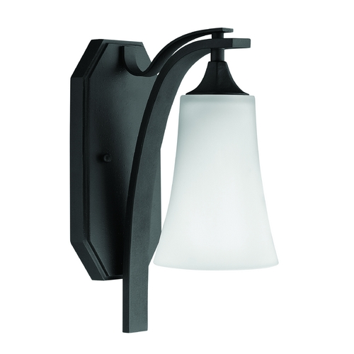 Hinkley Lighting Sconce Wall Light with White Glass in Textured Black Finish 4630TB