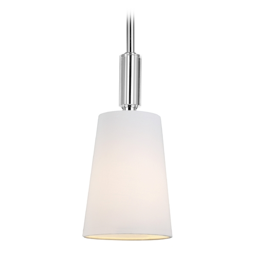 Feiss Lighting Feiss Lighting Lismore Polished Nickel Mini-Pendant Light with Empire Shade P1303PN