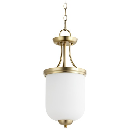 Quorum Lighting Quorum Lighting Enclave Aged Brass Pendant Light with Bowl / Dome Shade 2759-9-80