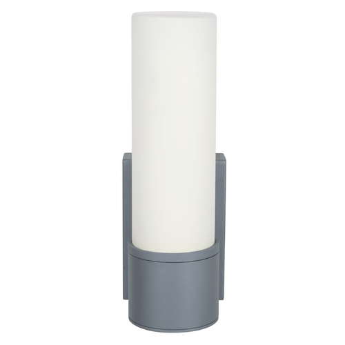 Access Lighting Outdoor Wall Light with White Glass in Satin Nickel Finish 20367MG-SAT/OPL