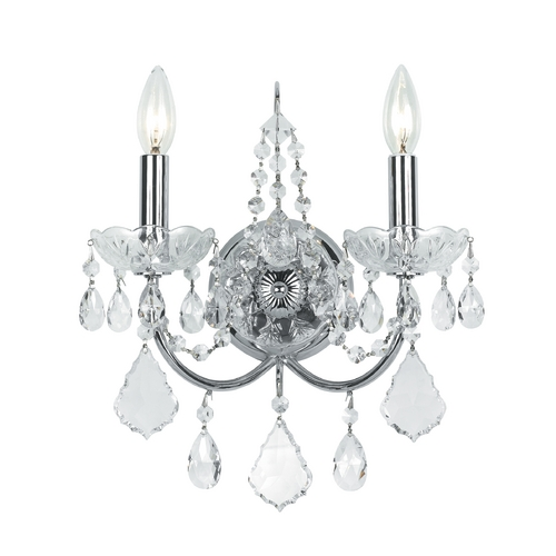 Crystorama Lighting Crystal Sconce Wall Light in Polished Chrome Finish 3222-CH-CL-MWP