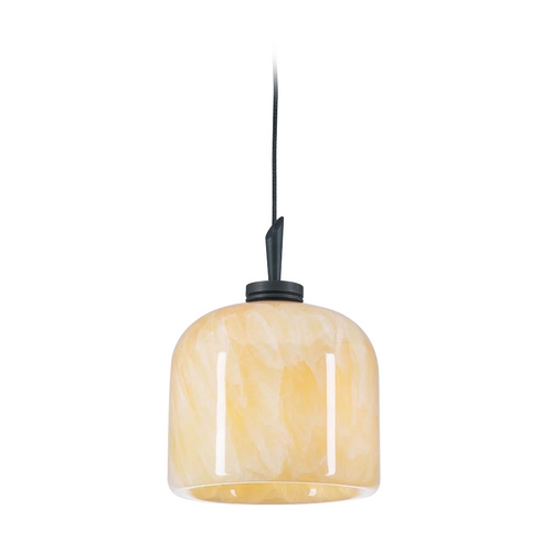 PLC Lighting Modern Mini-Pendant Light with Brown Glass 282 ORB