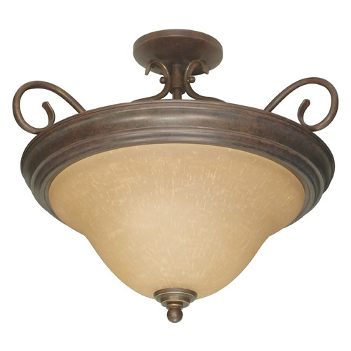 Nuvo Lighting Semi-Flushmount Light with Beige / Cream Glass in Sonoma Bronze Finish 60/1027
