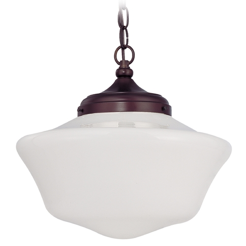 Design Classics Lighting 14-Inch Vintage Style Schoolhouse Pendant Light with Chain FA6-220 / GA14 / A-220