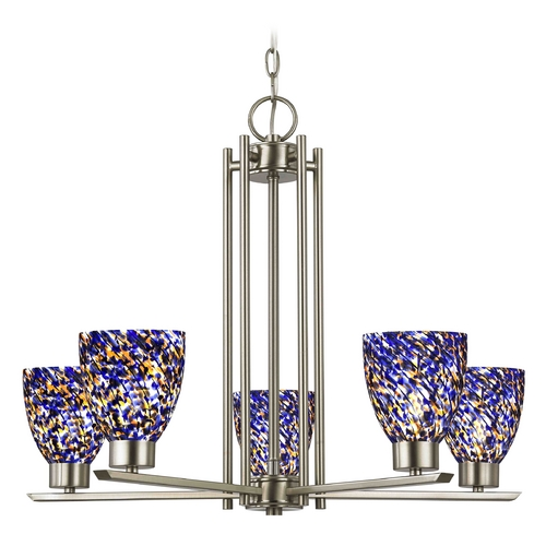 Design Classics Lighting Chandelier with Blue Art Glass in Satin Nickel Finish - 5 Lights 1120-1-09 GL1009MB