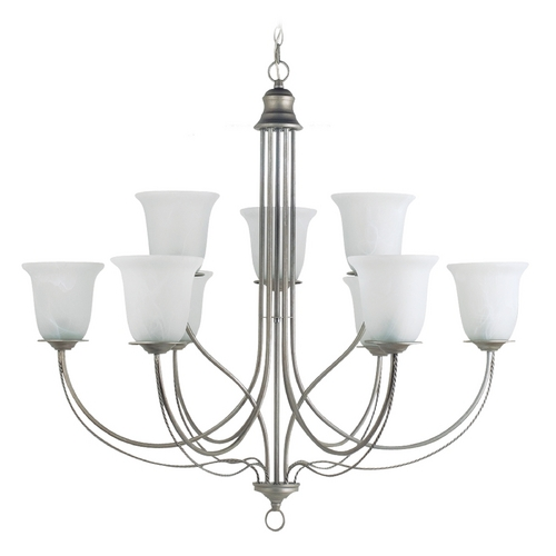 Sea Gull Lighting Chandelier with Alabaster Glass in Weathered Pewter Finish 31293-57