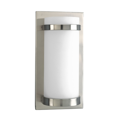 Progress Lighting Modern Sconce Wall Light with White Glass in Brushed Nickel Finish P7052-09EB