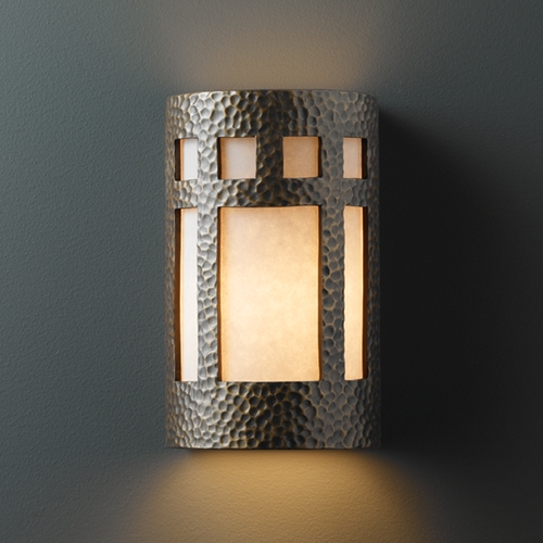Justice Design Group Sconce Wall Light with White in Hammered Brass Finish CER-5345-HMBR