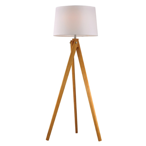 Dimond Lighting Floor Lamp with White Shades in Natural Wood Tone Finish D2469