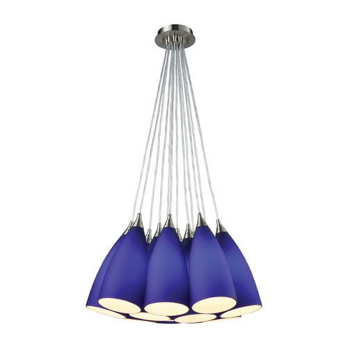 Elk Lighting Elk Lighting Vesta Satin Nickel Multi-Light Pendant with Bowl / Dome Shade 2581-12SR