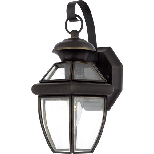 Quoizel Lighting Outdoor Wall Light with Clear Glass in Medici Bronze Finish NY8315Z