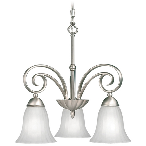 Kichler Lighting Kichler Chandelier with White Glass in Brushed Nickel Finish 3326NI