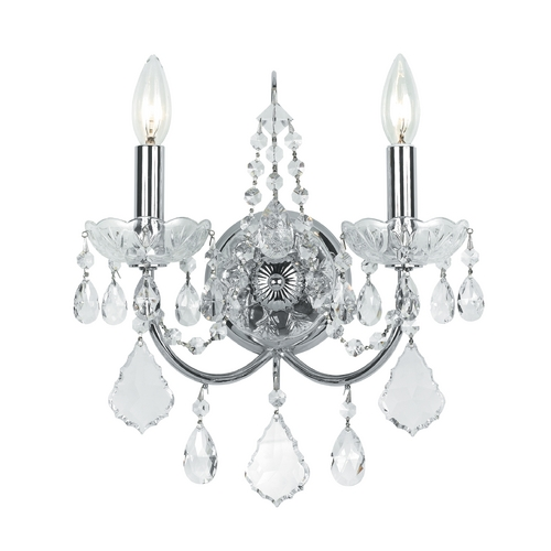 Crystorama Lighting Crystal Sconce Wall Light in Polished Chrome Finish 3222-CH-CL-S
