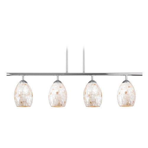 Design Classics Lighting Linear Pendant Light with 4-Lights and Mosaic Glass in Chrome Finish 718-26 GL1034