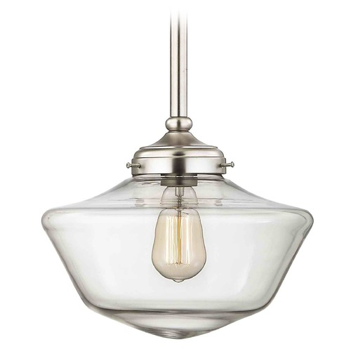 Design Classics Lighting 12-Inch Clear Glass Schoolhouse Pendant Light FA4-09 / GA12-CL