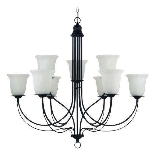 Sea Gull Lighting Chandelier with Alabaster Glass in Blacksmith Finish 31293-839