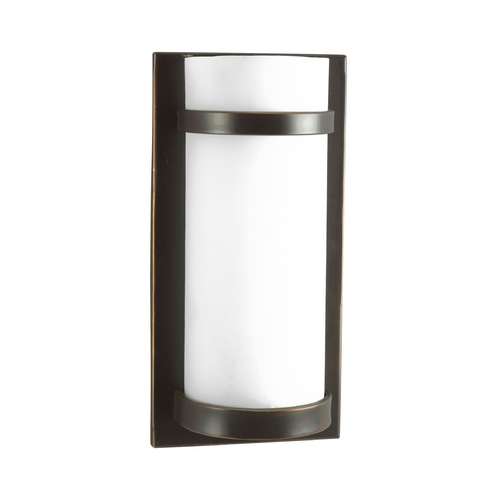 Progress Lighting Modern Sconce Wall Light with White Glass in Antique Bronze Finish P7052-20EB