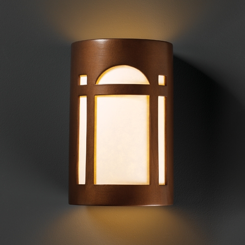 Justice Design Group Sconce Wall Light with White in Antique Copper Finish CER-5385-ANTC