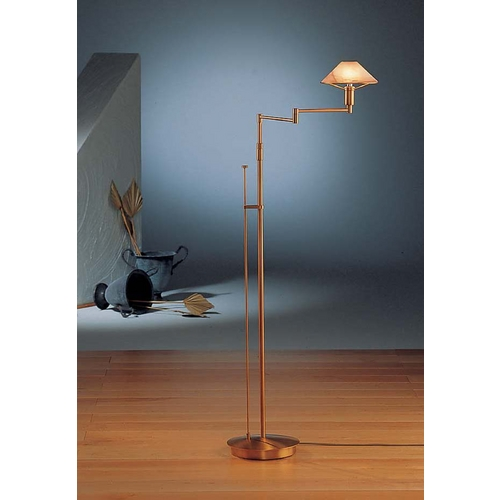 Holtkoetter Lighting Holtkoetter Modern Swing Arm Lamp with Alabaster Glass in Antique Brass Finish 9434 AB ABR