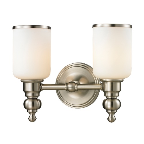 Elk Lighting Bathroom Light with White Glass in Brushed Nickel Finish 11581/2