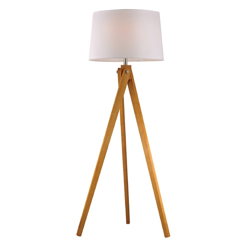 Dimond Lighting LED Floor Lamp with White Shades in Natural Wood Tone Finish D2469-LED