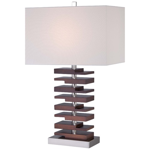 Minka Lavery Minka Table Lamp Walnut Table Lamp with Rectangle Shade 12420-0