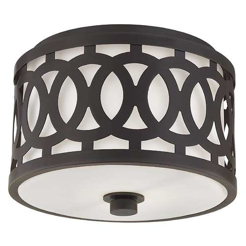 Hudson Valley Lighting Genesee 1 Light Flushmount Light Drum Shade - Old Bronze 4310-OB