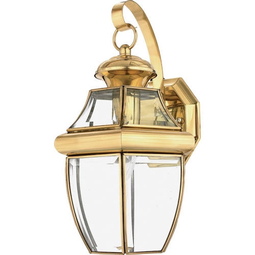 Quoizel Lighting Outdoor Wall Light with Clear Glass in Polished Brass Finish NY8316B