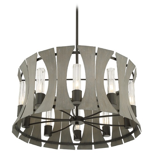 Eurofase Lighting Eurofase Lighting Pennino Matte Black W/ Grey Wood LED Chandelier 38164-019