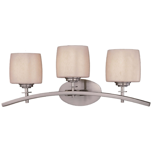 Minka Lavery Modern Bathroom Light with Beige / Cream Glass in Brushed Nickel Finish 6183-84
