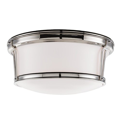 Hudson Valley Lighting Flushmount Light with White Glass in Polished Nickel Finish 6515-PN