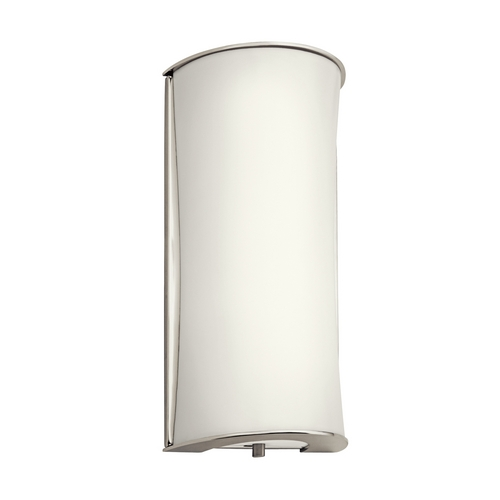 Kichler Lighting Kichler Modern Sconce Wall Light with White in Polished Nickel Finish 10693PN